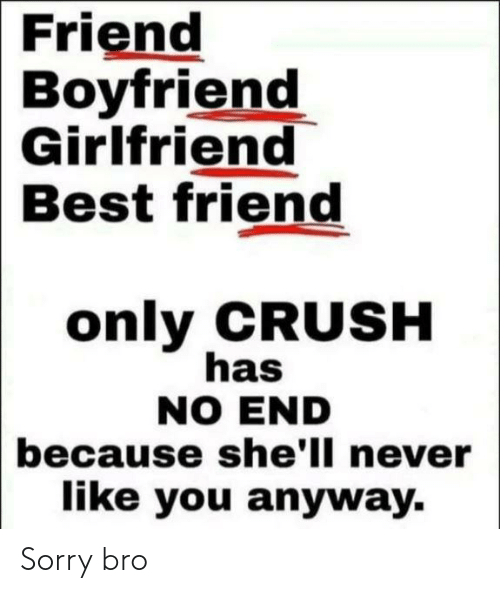 Boyfriend Girlfriend: Friend  Boyfriend  Girlfriend  Best friend  only CRUSH  has  NO END  because she'll never  like you anyway. Sorry bro