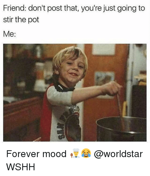 Memes, Mood, and Worldstar: Friend: don't post that, you're just going to  stir the pot  Me: Forever mood 👨‍🍳😂 @worldstar WSHH