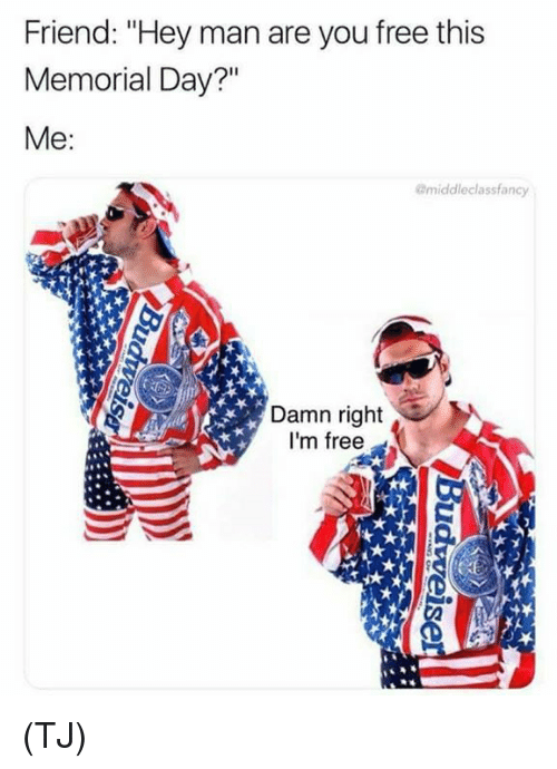 """Memes, Free, and Memorial Day: Friend: """"Hey man are you free this  Memorial Day?""""  Me:  @middleclassfancy  Damn right  I'm free (TJ)"""