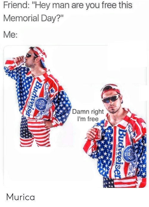"""Memorial: Friend: """"Hey man are you free this  Memorial Day?""""  Me  Damn right  I'm free Murica"""
