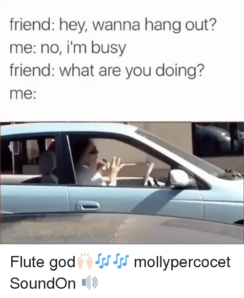 hanged: friend: hey, wanna hang out?  me: no, i'm busy  friend: what are you doing?  me Flute god🙌🏻🎶🎶 mollypercocet SoundOn 🔊