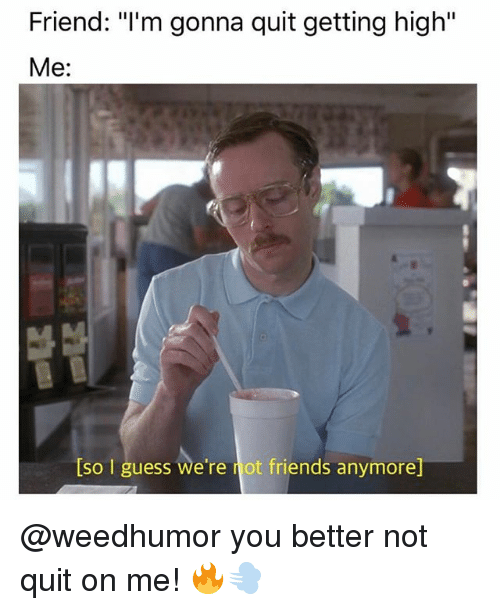 """Friends, Memes, and Guess: Friend: """"I'm gonna quit getting high""""  Me:  lso guess we're not friends anymore @weedhumor you better not quit on me! 🔥💨"""