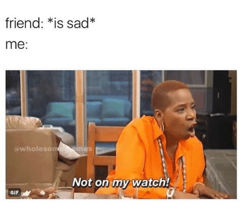 Gif, Watch, and Sad: friend: *is sad*  me:  @wholeson  Not on my watch!  GIF
