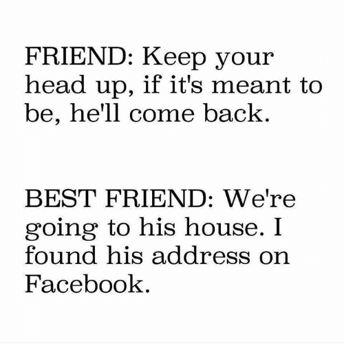 Best Friend, Facebook, and Head: FRIEND: Keep your  head up, if it's meant to  be, he'll come back  BEST FRIEND: We're  going to his house. I  found his address on  Facebook
