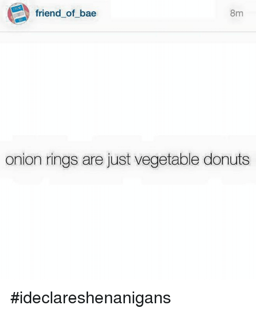 Onion Ring: friend of bae  8m  onion rings are just vegetable donuts #ideclareshenanigans