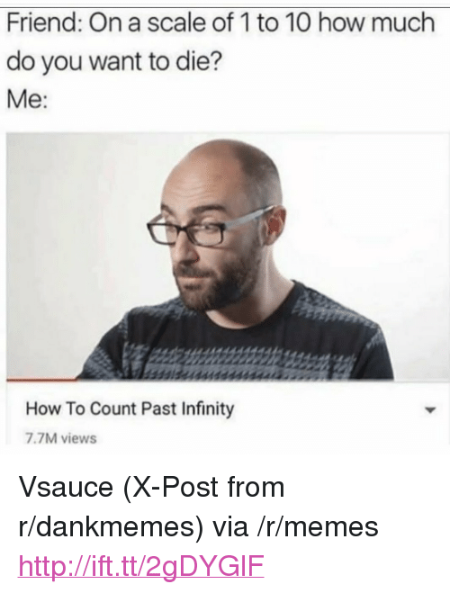 """On A Scale Of 1 To 10: Friend: On a scale of 1 to 10 how much  do you want to die?  Me  How To Count Past Infinity  7.7M views <p>Vsauce (X-Post from r/dankmemes) via /r/memes <a href=""""http://ift.tt/2gDYGlF"""">http://ift.tt/2gDYGlF</a></p>"""