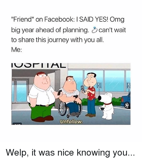 """Facebook, Journey, and Memes: """"Friend"""" on Facebook: I SAID YES! Omg  big year ahead of planning. can't wait  to share this journey with you all.  Me:  3  Unfollow. Welp, it was nice knowing you..."""