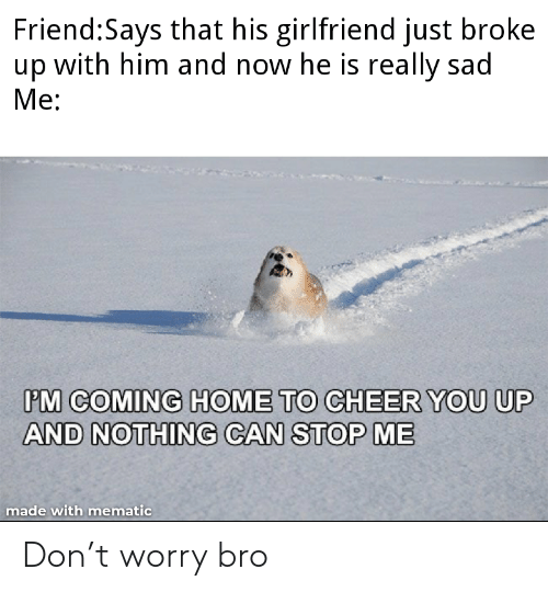 To Cheer You Up: Friend:Says that his girlfriend just broke  up with him and now he is really sad  Ме:  PM COMING HOME TO CHEER YOU UP  AND NOTHING CAN STOP ME  made with mematic Don't worry bro