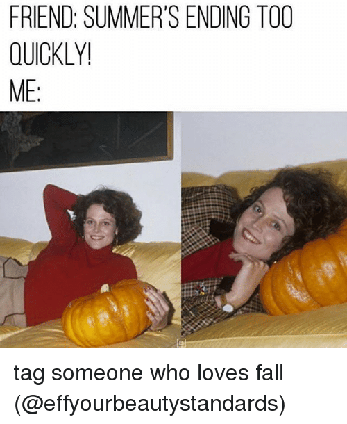 Fall, Memes, and Tag Someone: FRIEND: SUMMER'S ENDING TOO  QUICKLY!  ME: tag someone who loves fall (@effyourbeautystandards)