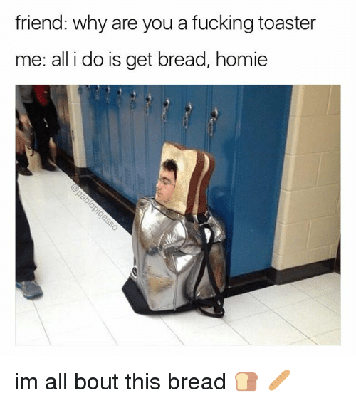 Fucking, Homie, and Memes: friend: why are you a fucking toaster  me: all i do is get bread, homie im all bout this bread 🍞 🥖