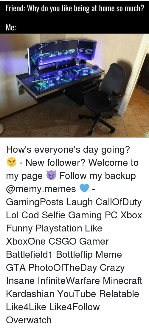 Memes, Insanity, and 🤖: Friend: Why do you like being at home so much?  Me How's everyone's day going? 😏 - New follower? Welcome to my page 😈 Follow my backup @memy.memes 💙 - GamingPosts Laugh CallOfDuty Lol Cod Selfie Gaming PC Xbox Funny Playstation Like XboxOne CSGO Gamer Battlefield1 Bottleflip Meme GTA PhotoOfTheDay Crazy Insane InfiniteWarfare Minecraft Kardashian YouTube Relatable Like4Like Like4Follow Overwatch