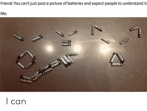 batteries: Friend: You can't just post a picture of batteries and expect people to understand it  Me: I can