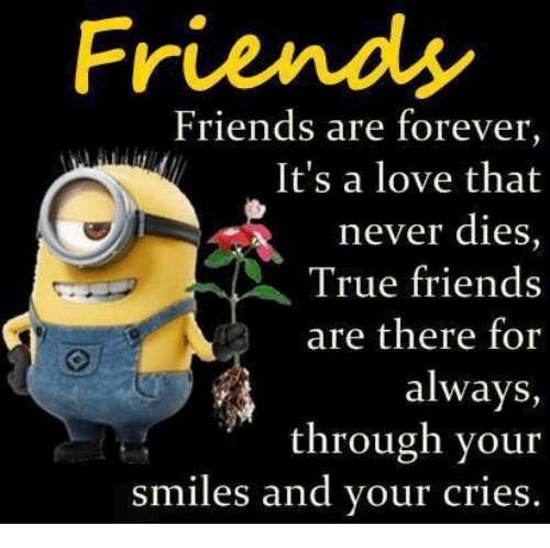 Friendly Friend: Friends  Friends are forever,  It's a love that  never dies  True friends  are there for  always,  through your  smiles and your cries.