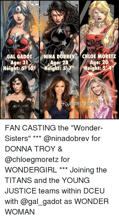 """Young Justice: FRIENDS HAVE  ERAORE THEY  DIE?  GALAGADOT  LNINA DOBREY CHLOE MORETZ  Age: 20  es  Height: 5 4 FAN CASTING the """"Wonder-Sisters"""" *** @ninadobrev for DONNA TROY & @chloegmoretz for WONDERGIRL *** Joining the TITANS and the YOUNG JUSTICE teams within DCEU with @gal_gadot as WONDER WOMAN"""