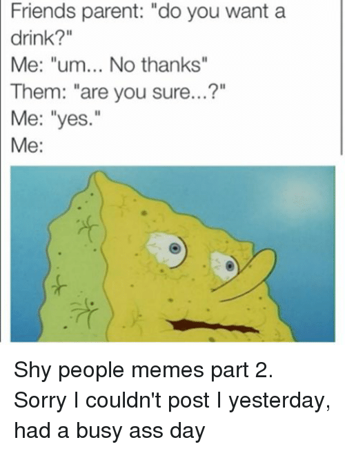 "People Memes: Friends parent: ""do you want a  drink?""  Me: ""um... No thanks""  Them: ""are you sure...?""  Me: ""yes.""  Me: Shy people memes part 2. Sorry I couldn't post I yesterday, had a busy ass day"