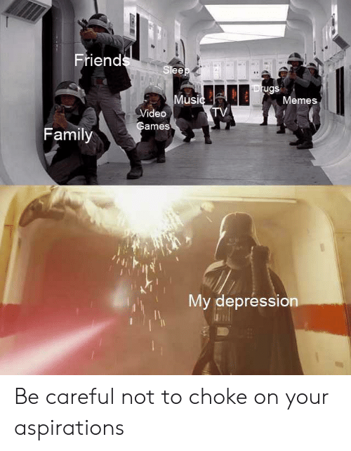 Be Careful Not To Choke On Your Aspirations: Friends  Sleep  Drugs  Music  TV  Memes  Video  Games  Family  My depression  LI Be careful not to choke on your aspirations