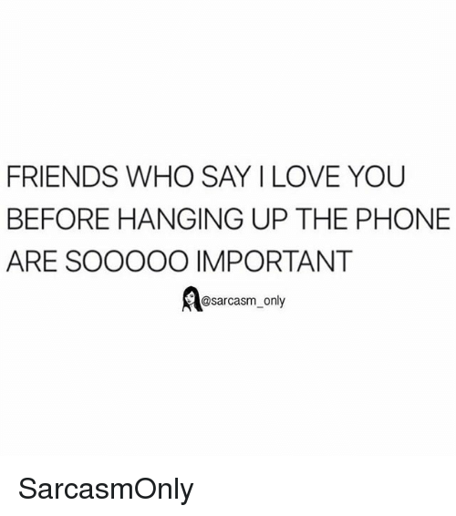 Friends, Funny, and Love: FRIENDS WHO SAY I LOVE YOU  BEFORE HANGING UP THE PHONE  ARE SOOOOO IMPORTANT  Aesarcasm, only SarcasmOnly