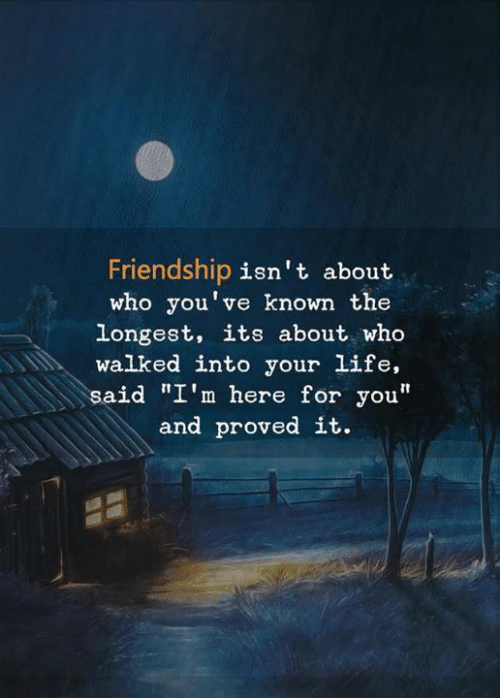 """Here For You: Friendship isn't about  who you've known the  longest, its about who  walked into your life,  said """"I'm here for you""""  and proved it."""