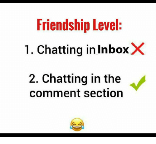 The Comment Section: Friendship Level:  1. Chatting in InboxX  2. Chatting in the  comment section