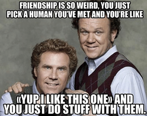Friendshipis: FRIENDSHIPIS SO WEIRD, YOU JUST  PICKA HUMAN YOUVE MET AND YOU'RE LIKE  (YUPILIKE THISONED AND  YOU JUST'DO STUFF WITH THEM
