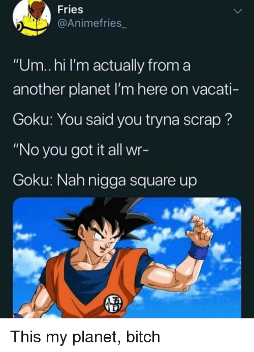"Square Up: Fries  @Animefries_  ""Um..hi I'm actually from a  another planet I'm here on vacati-  Goku: You said you tryna scrap?  ""No you got it all wr-  Goku: Nah nigga square up This my planet, bitch"