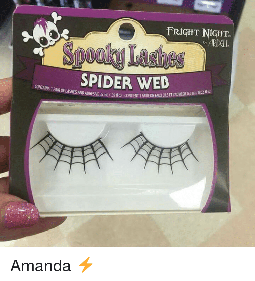 Spider Webbed: FRIGHT NIGHT.  -ARDell  SpookyLasies  SPIDER WEB  CONTAINS 1 PAIR OF LASHES AND ADHESIVE.6mL/02floz CONTENT 1 PARE  02floz CONTENT 1 PAIRE DEFAUXCLSETLADHESIF06ml/002floz Amanda ⚡