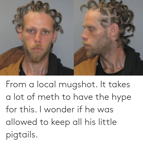 hype: From a local mugshot. It takes a lot of meth to have the hype for this. I wonder if he was allowed to keep all his little pigtails.