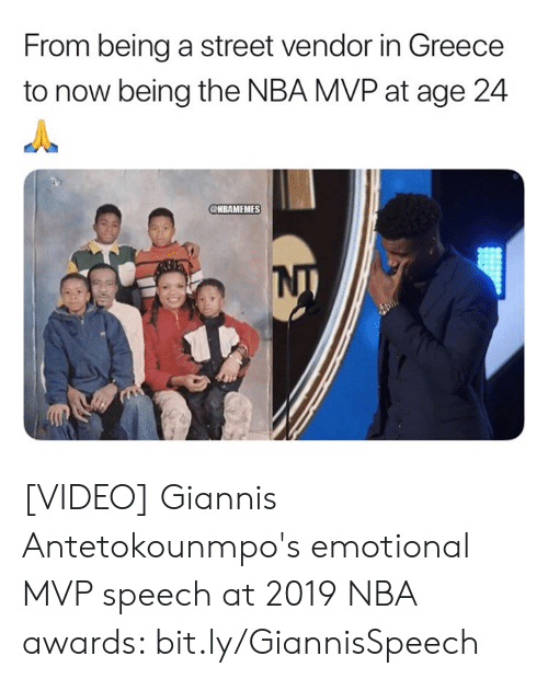 Greece: From being a street vendor in Greece  to now being the NBA MVP at age 24  @HBAMEMES [VIDEO] Giannis Antetokounmpo's emotional MVP speech at 2019 NBA awards: bit.ly/GiannisSpeech