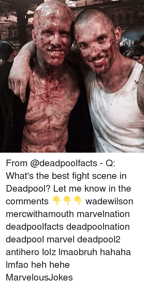 fight scenes: From @deadpoolfacts - Q: What's the best fight scene in Deadpool? Let me know in the comments 👇👇👇 wadewilson mercwithamouth marvelnation deadpoolfacts deadpoolnation deadpool marvel deadpool2 antihero lolz lmaobruh hahaha lmfao heh hehe MarvelousJokes