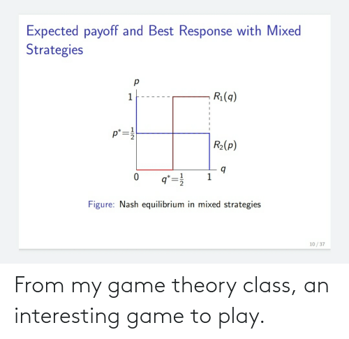 game theory: From my game theory class, an interesting game to play.