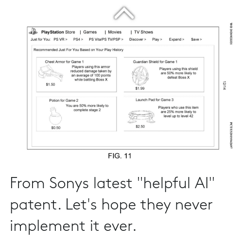 """patent: From Sonys latest """"helpful AI"""" patent. Let's hope they never implement it ever."""