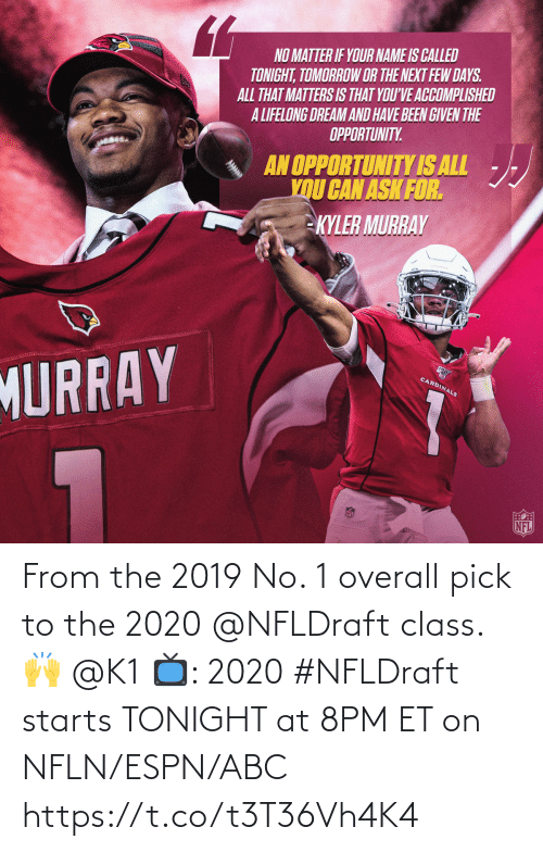 Starts: From the 2019 No. 1 overall pick to the 2020 @NFLDraft class. 🙌 @K1   📺: 2020 #NFLDraft starts TONIGHT at 8PM ET on NFLN/ESPN/ABC https://t.co/t3T36Vh4K4