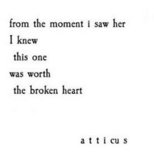 Moment I: from the moment i saw her  I knew  this one  was worth  the broken heart  atti cu s