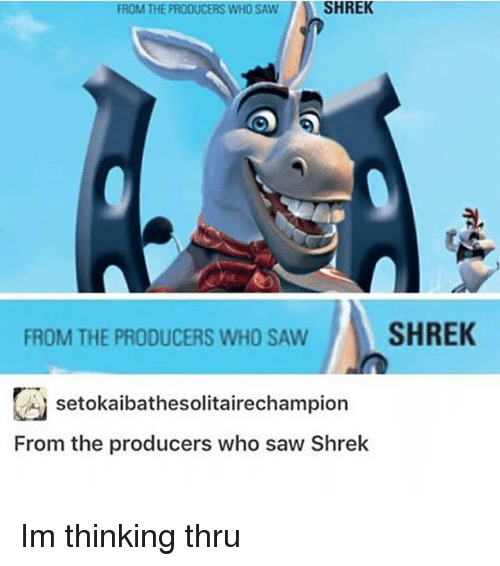 Shrekli: FROM THE PRODUCERS WHO SAWSHREK  FROM THE PRODUCERS WHO SAWSHREK  囚setokaibathesolitairechampion  From the producers who saw Shrek Im thinking thru