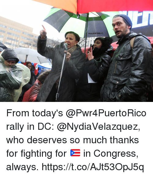 Memes, 🤖, and Congress: From today's @Pwr4PuertoRico rally in DC: @NydiaVelazquez, who deserves so much thanks for fighting for 🇵🇷 in Congress, always. https://t.co/AJt53OpJ5q
