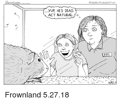 Blogspot, Webcomics, and Act: FROWNLANDCOMIC.BLOGSPOT. CoM  .YUP, HES DEAD.  ACT NATURAL. 1 o Frownland 5.27.18