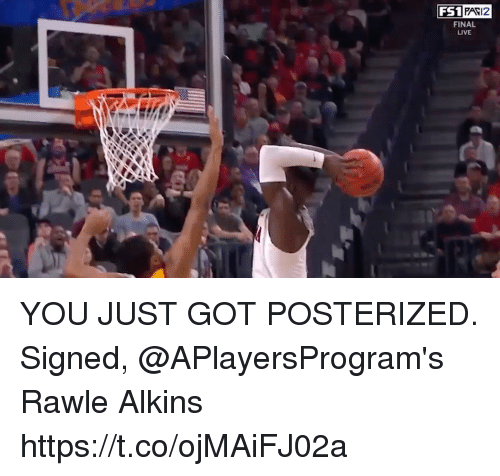 posterized: FS1  FAV12  FINAL  LIVE YOU JUST GOT POSTERIZED.  Signed, @APlayersProgram's Rawle Alkins https://t.co/ojMAiFJ02a