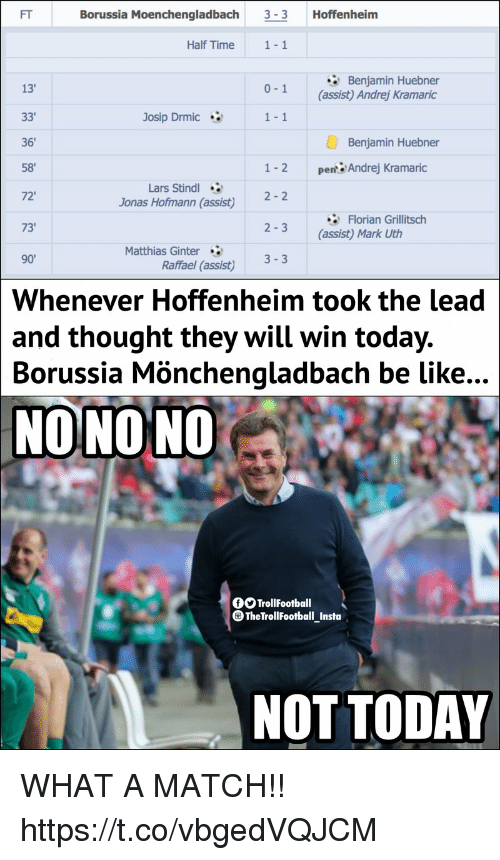 "Be Like, Memes, and Match: FT  Borussia Moenchengladbach 3-3 Hoffenheim  Half Time  1-1  Benjamin Huebner  (assist) Andrej Kramaric  13'  0-1  Josip Drmic  1-1  Benjamin Huebner  36  58""  72'  73  1-2  pert:Andrej Kramaric  Lars Stindl  Jonas Hofmann (assist)  2-2  牢Florian Grillitsch  (assist) Mark Uth  2-3  Matthias Ginter  90'  Raffael (assist) 33  Whenever Hoffenheim took the lead  thought they will win today.  and  Borussia  Mönchengladbach be like...  NONONO  TrollFootball  TheTrollfootball_Insta  NOT TODAY WHAT A MATCH!! https://t.co/vbgedVQJCM"