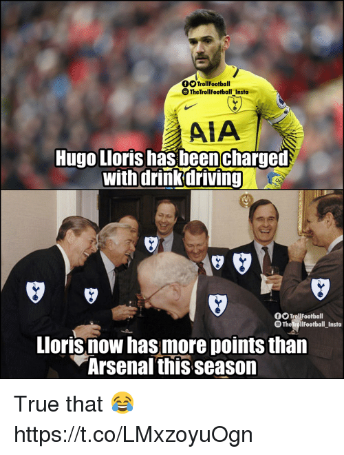 hugo: fTrollFootball  TheTrollfootball Insta  AIA  Hugo Lloris has beencharged  with drink driving  f TrollFootball  The TrollFootball Insta  Lloris now has more points than  Arsenal this season True that 😂 https://t.co/LMxzoyuOgn