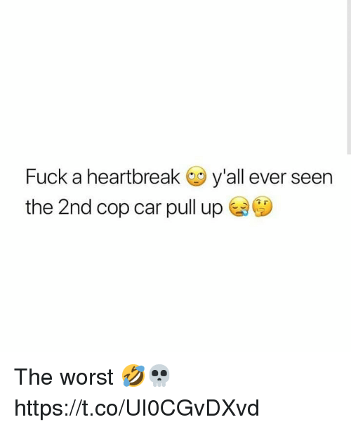 cop car: Fuck a heartbreak y'all ever seen  the 2nd cop car pull up The worst 🤣💀 https://t.co/UI0CGvDXvd