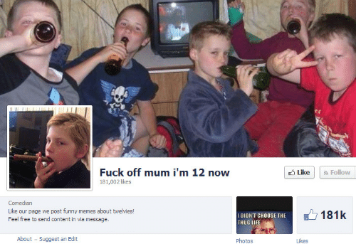 Im 12: Fuck off mum i'm 12 now  3 Like  a Follow  181,002 likes  Comedian  Like our page we post funny memes about twelvies!  Feel free to send content in via message.  181k  I DIDN'T CHOOSE THE  THUG LIFE  About - Suggest an Edit  Photos  Likes