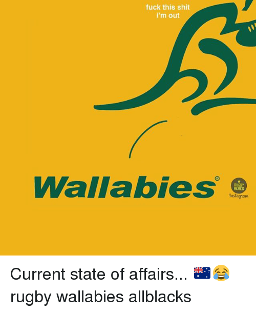 Instagram, Memes, and Shit: fuck this shit  i'm out  Wallabies  MEMES  Instagram Current state of affairs... 🇦🇺😂 rugby wallabies allblacks