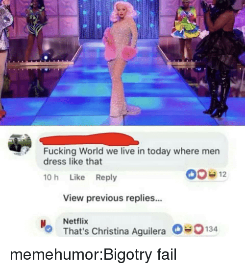 Fail, Fucking, and Netflix: Fucking World we live in today where men  dress like that  10 h Like Reply  View previous replies...  Netflix  That's Christina Aguilera0134 memehumor:Bigotry fail