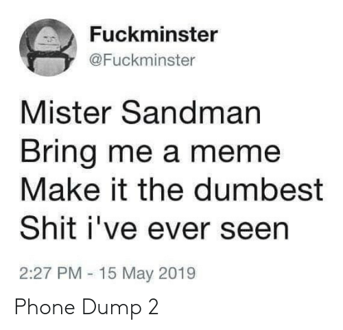 Mister: Fuckminster  @Fuckminster  Mister Sandman  Bring me a meme  Make it the dumbest  Shit i've ever seen  2:27 PM 15 May 2019 Phone Dump 2