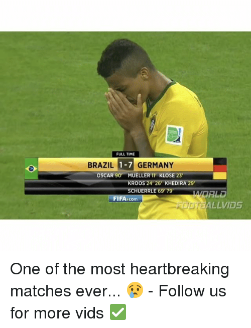 Memes, Oscars, and Brazil: FULL TIME  BRAZIL 1-7 GERMANY  OSCAR 90 MUELLER 11 KLOSE 23  RO  24 26 KHEDIRA 29  HUERR  69 79  FIFA.com  LLVIDS One of the most heartbreaking matches ever... 😢 - Follow us for more vids ✅