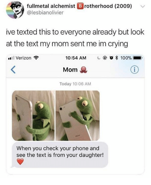 Fullmetal Alchemist: fullmetal alchemist B rotherhood (2009)  alesbianolivier  ive texted this to everyone already but look  at the text my mom sent me im crying  Verizon  10:54 AM  @ Ο * 100%  Mom  Today 10:06 AM  When you check your phone and  see the text is from your daughter!