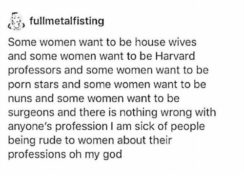Professionalism: fullmetalfisting  Some women want to be house wives  and some women want to be Harvard  professors and some women want to be  porn stars and some women want to be  nuns and some women want to be  surgeons and there is nothing wrong with  anyone's profession l am sick of people  being rude to women about their  professions oh my god
