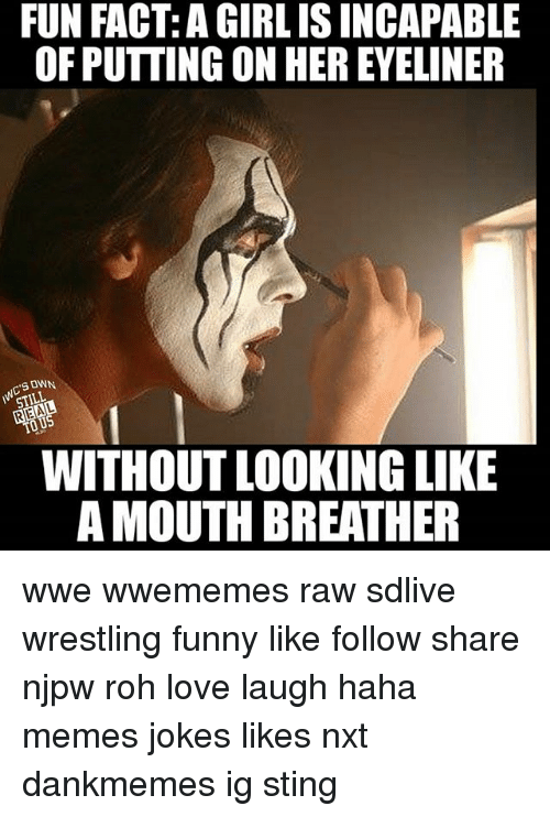 Stingly: FUN FACT: A GIRLISINCAPABLE  OF PUTTING ON HEREYELINER  SONN.  STILL  WITHOUT LOOKING LIKE  AMOUTH BREATHER wwe wwememes raw sdlive wrestling funny like follow share njpw roh love laugh haha memes jokes likes nxt dankmemes ig sting