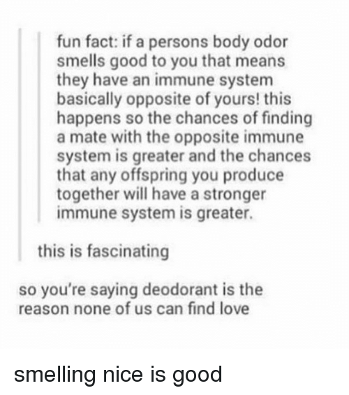 finding love: fun fact: if a persons body odor  smells good to you that means  they have an immune system  basically opposite of yours! this  happens so the chances of finding  a mate with the opposite immune  system is greater and the chances  that any offspring you produce  together will have a stronger  immune system is greater.  this is fascinating  so you're saying deodorant is the  reason none of us can find love smelling nice is good