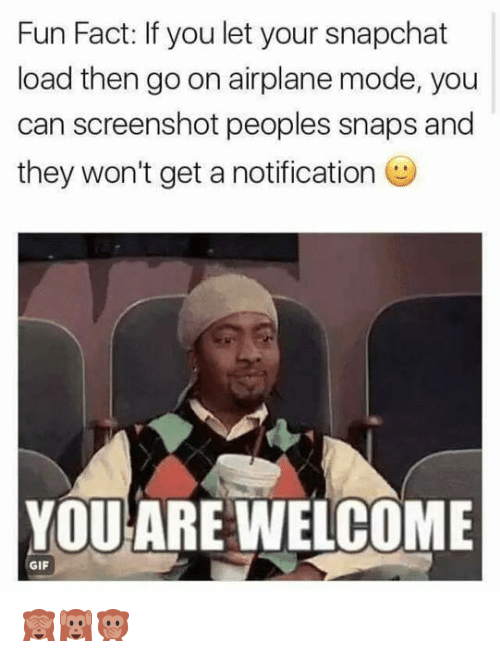 Moded: Fun Fact: If you let your snapchat  load then go on airplane mode, you  can screenshot peoples snaps and  they won't get a notification  YOUARE WELCOME  GIF 🙈🙉🙊